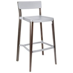 Emeco Lancaster Barstool in Light Gray Aluminum and Dark Ash by Michael Young
