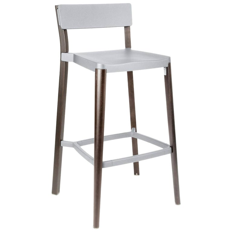 Emeco Lancaster Barstool in Light Gray Aluminum and Dark Ash by Michael Young For Sale