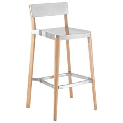 Emeco Lancaster Barstool in Polished Aluminum and Ash by Michael Young
