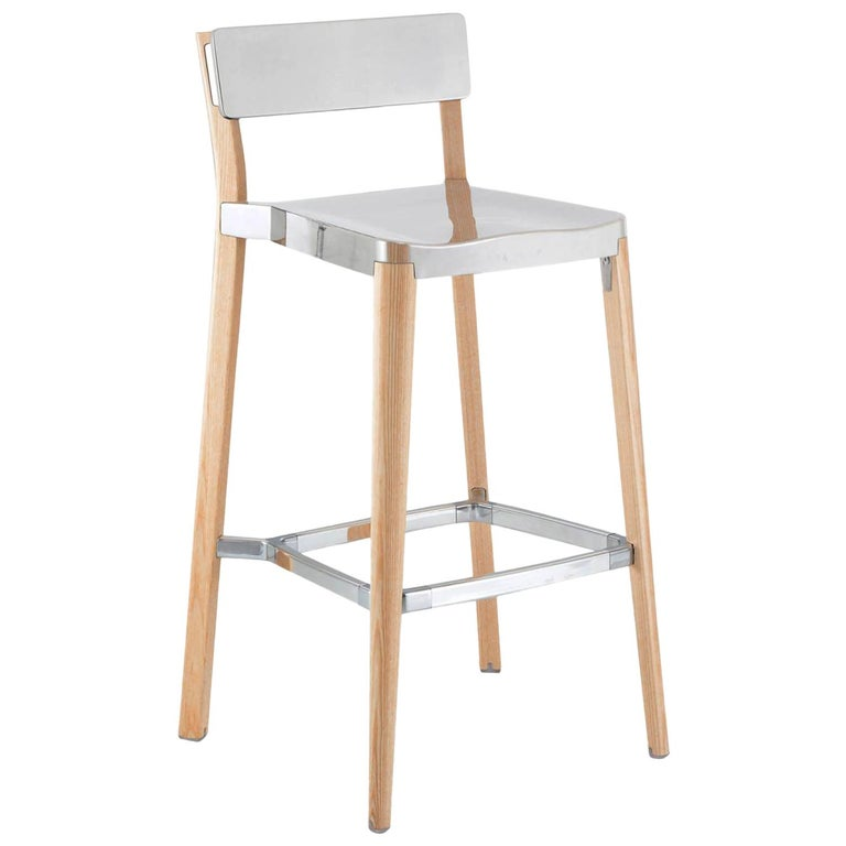 Emeco Lancaster Barstool in Polished Aluminum and Ash by Michael Young For Sale