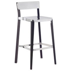 Emeco Lancaster Barstool in Polished Aluminum and Dark Ash by Michael Young