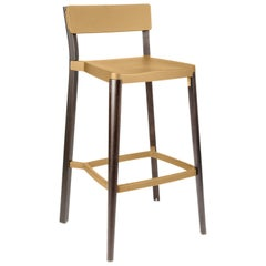 Emeco Lancaster Barstool in Sand Aluminum & Dark Ash by Michael Young