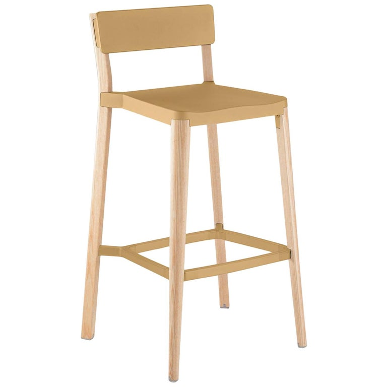 Emeco Lancaster Barstool in Sand Aluminum & Light Ash by Michael Young  For Sale