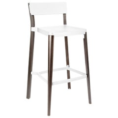 Emeco Lancaster Barstool in White Aluminum & Dark Ash by Michael Young