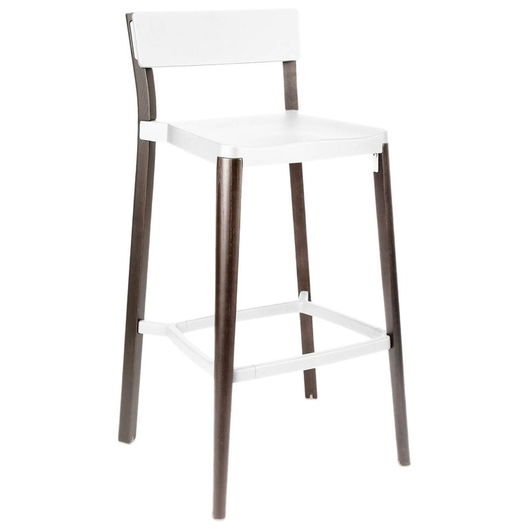 Emeco Lancaster Barstool in White Aluminum & Dark Ash by Michael Young  For Sale