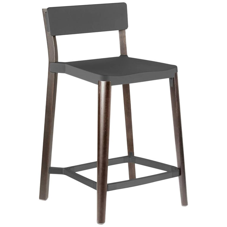 Emeco Lancaster Counter Stool in Dark Aluminum and Dark Ash by Michael Young For Sale