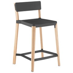 Emeco Lancaster Counter Stool in Dark Aluminum & Ash by Michael Young