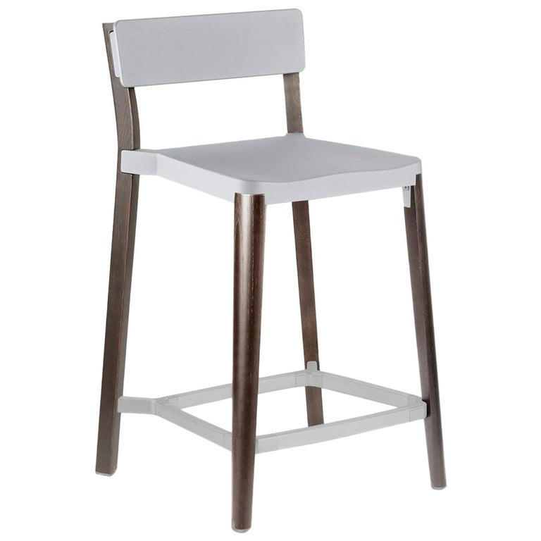Emeco Lancaster Counter Stool in Light Aluminum & Dark Ash by Michael Young  For Sale