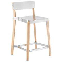Emeco Lancaster Counter Stool in Polished Aluminum and Ash by Michael Young