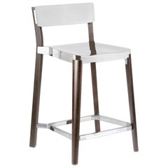Emeco Lancaster Counter Stool in Polished Aluminum & Dark Ash by Michael Young