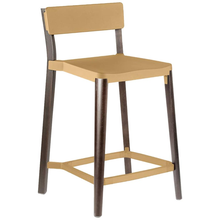 Emeco Lancaster Counter Stool in Sand Aluminum & Dark Ash by Michael Young  For Sale