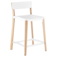 Emeco Lancaster Counter Stool in White Aluminum & Ash by Michael Young