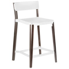 Emeco Lancaster Counter Stool in White Aluminum & Dark Ash by Michael Young