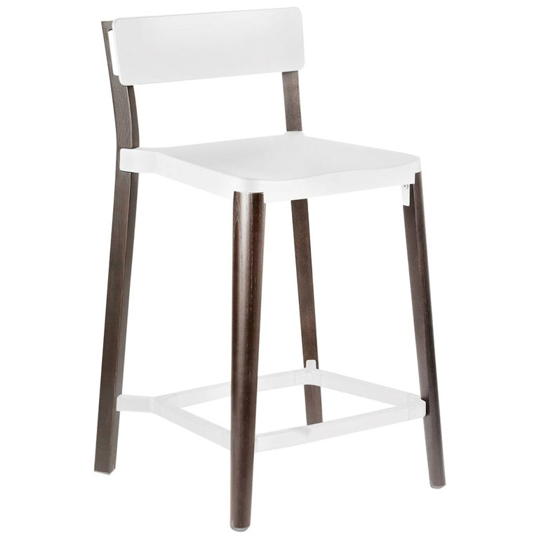Emeco Lancaster Counter Stool in White Aluminum & Dark Ash by Michael Young  For Sale