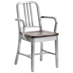 Emeco Navy® Armchair in Brushed Aluminum and Walnut by US Navy