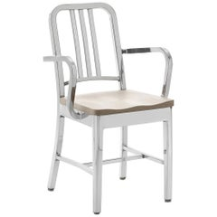 Emeco Navy Armchair in Polished Aluminum and Ash by US Navy