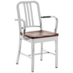 Emeco Navy Armchair in Polished Aluminum and Cherry by US Navy