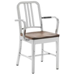Emeco Navy Armchair in Polished Aluminum and Walnut by US Navy