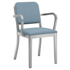 Emeco Navy Officer Armchair in Blue Fabric with Brushed Aluminum Frame
