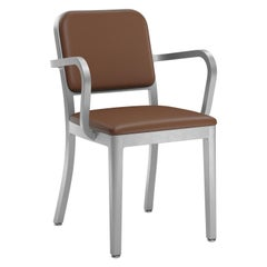 Emeco Navy Officer Armchair in Brown Leather with Brushed Aluminum Frame