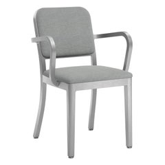 Emeco Navy Officer Armchair in Grey Fabric with Brushed Aluminum Frame