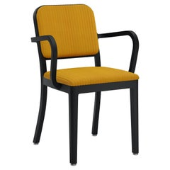 Emeco Navy Officer Armchair in Yellow Fabric with Black Powder Coated Frame