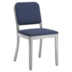 Emeco Navy Officer Side Chair in Navy Blue Fabric with Aluminum Frame