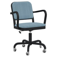 Emeco Navy Officer Swivel Armchair in Blue Fabric with Black Powder Coated Frame
