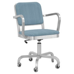 Emeco Navy Officer Swivel Armchair in Blue Fabric with Brushed Aluminum Frame