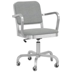 Emeco Navy Officer Swivel Armchair in Grey Fabric with Brushed Aluminum Frame