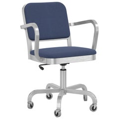 Emeco Navy Officer Swivel Armchair in Navy Blue Fabric with Aluminum Frame