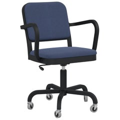 Emeco Navy Officer Swivel Armchair in Navy Blue Fabric with Black Aluminum Frame