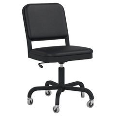 Emeco Navy Officer Swivel Chair in Black Leather and Black Aluminum Frame