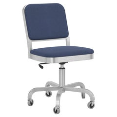 Emeco Navy Officer Swivel Chair in Navy Blue Fabric with Aluminum Frame