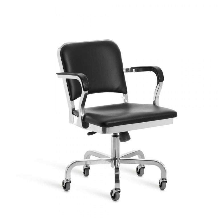 First built for use on submarines in 1944, the Navy Chair has been in continuous Production ever since. With the famous 77 step Process, our craftsmen take soft, recycled aluminum, hand form and weld it- then temper it for strength. Finally, the
