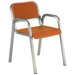 Emeco Nine-0 Armchair in Brushed Aluminum and Orange by Ettore Sottsass