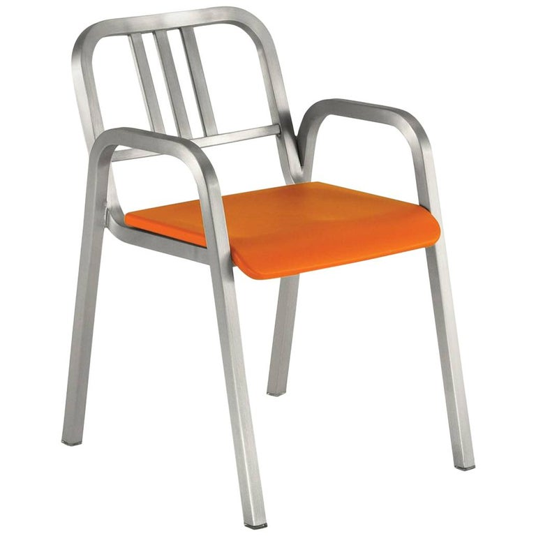 Emeco Nine-0 Armchair in Brushed Aluminum with Orange Seat by Ettore Sottsass For Sale