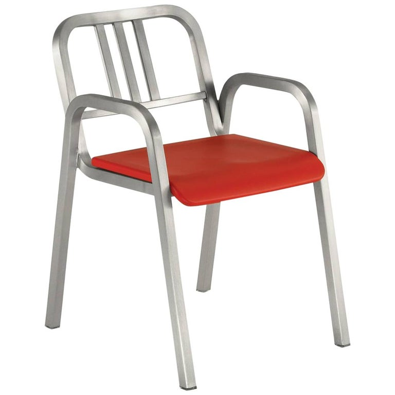Emeco Nine-0 Armchair in Brushed Aluminum with Red Seat by Ettore Sottsass For Sale