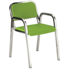 Emeco Nine-0 Armchair in Polished Aluminium and Green by Ettore Sottsass