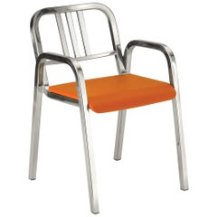Emeco Nine-0 Armchair in Polished Aluminium with Orange Seat by Ettore Sottsass
