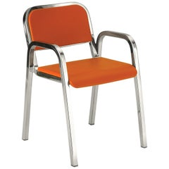Emeco Nine-0 Armchair in Polished Aluminum and Orange by Ettore Sottsass