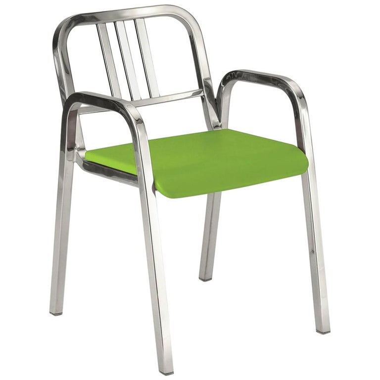 Emeco Nine-0 Armchair in Polished Aluminum with Green Seat by Ettore Sottsass For Sale