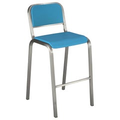 Emeco Nine-0 Barstool in Brushed Aluminum and Blue by Ettore Sottsass