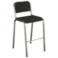 Emeco Nine-0 Barstool in Brushed Aluminum and Gray by Ettore Sottsass