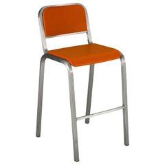 Emeco Nine-0 Barstool in Brushed Aluminum and Orange by Ettore Sottsass