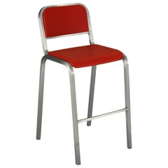Emeco Nine-0 Barstool in Brushed Aluminum and Red by Ettore Sottsass