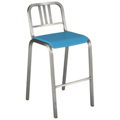 Emeco Nine-0 Barstool in Brushed Aluminum with Blue Seat by Ettore Sottsass