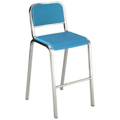 Emeco Nine-0 Barstool in Polished Aluminum and Blue by Ettore Sottsass