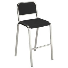 Emeco Nine-0 Barstool in Polished Aluminum and Gray by Ettore Sottsass