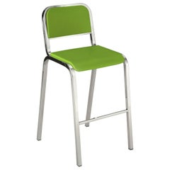 Emeco Nine-0 Barstool in Polished Aluminum and Green by Ettore Sottsass